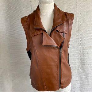 VTG 90s M Leather Wool Sleeveless Moto Jacket Vest